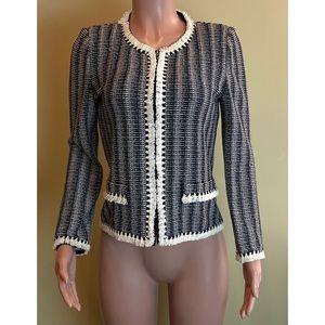St. John Fringe Trim Knit Zip Front Jacket